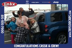 Cassie and her kids were so much fun at the dealership! The kids had a ball with Aaron while their mom was buying this Chevrolet HHR. Afterward, they couldn't wait to take a funny picture next to the new car. Enjoy Cassie and Crew! We hope the HHR is bringing you many more smiles!
