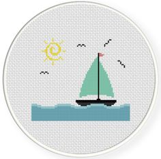 FREE for Dec 22nd 2014 Only - Sunny Sailboat Cross Stitch Pattern