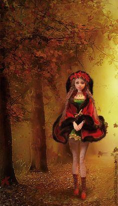 """Купить Авторская шарнирная кукла """"Кларисса"""" - ярко-красный, flumo, кукла, авторская кукла"""