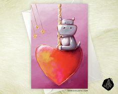 Carte de voeux Hippopotame Manège Coeur  Fête des mères Amour Saint-Valentin