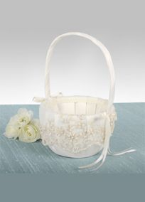 """Ivory Flower Girl Basket adorned with a beautiful embroidered lace pattern accented with sequins and pearls.Available online and in stores in Ivory. White avilable online only.  Basket is 9.5"""" tall."""