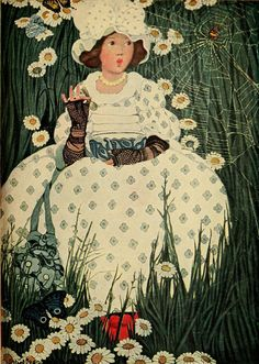 1909 Ethel Franklin Betts (American illustrator; 1878-1956) ~ Little Miss Muffet, from The Complete Mother Goose
