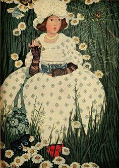 1909 Ethel Franklin Betts (American illustrator; 1878 - 1956) ~ Little Miss Muffet, fromThe Complete Mother Goose