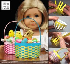 Happy Easter from Lee & Pearl! Make beautiful Easter baskets for your 18 inch / American Girl dolls using inexpensive ribbon, card stock and Lee & Pearl's FREE tutorial and printable package. Doll Crafts, Diy Doll, Ag Dolls, Girl Dolls, Pearl Crafts, Doll Shoe Patterns, Clothes Patterns, Easter Baskets To Make, American Girl Diy