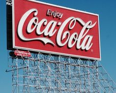 red, coca cola, and retro image vintage cherry coke billboard sign company enjoy ad advertising advertisement 1950s old school vibes