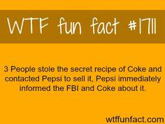 3 people stole the secret recipe of Coke - WTF fun facts. Yeah go Pepsi