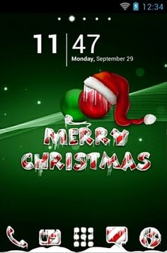 """""""Icy Christmas Green"""" Android Theme. Free download  http://androidlooks.com/theme/t0746-icy-christmas-green/  #android, #themes, #Christmas, #holidays, #go_launcher"""