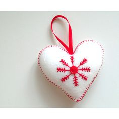 Felt valentines ornament, handmade red and white snowlake heart,... ($3.79) ❤ liked on Polyvore featuring home, home decor, holiday decorations, hand made ornaments, heart ornaments, heart shaped ornaments, handmade felt ornaments and hand crafted ornaments
