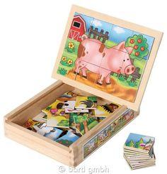 Bartl, Magnetpuzzle-Set (4) Farmtiere in Holzbox, Hochwertiges Set aus vier Holzpuzzles mit Bauernhof-Motiven | 111099