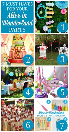 Check out these seven party ideas -- including dessert, cake, decoration, and party supply ideas -- for hosting a fantastic Alice in Wonderland party! Mad Hatter Party, Mad Hatter Tea, Mad Hatters, Princesse Party, Alice Tea Party, Mad Tea Parties, Alice In Wonderland Birthday, Alice In Wonderland Party Ideas, Winter Wonderland