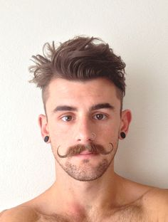 guys with piercings Handlebar Mustache, Beard No Mustache, Guys With Nose Piercings, Mens Haircuts Short Hair, Hot Men, Hair And Beard Styles, Hair Styles, Mustache Styles, Tattoo Und Piercing