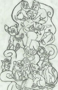 A work in progress of my Disney Animals sleeve. - Disney - Tattoo World Wolf Tattoos, Animal Tattoos, Leg Tattoos, Body Art Tattoos, Animal Sleeve Tattoo, Lion King Tattoos, Tattoos Pics, Disney Love, Disney Art