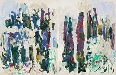 """Taillade"", 1990. Oil on canvas, two panels,  102 1/4 x 157 ½ inches,  The Museum of Modern Art, New York, gift of Galerie Jean Fournier, Enid A. Haupt Fund, and Helen Acheson Bequest (by exchange). Image © Estate of Joan Mitchell."