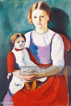 Beaux-arts : Blonde girl and doll, painting by August Macke cm August Macke, Franz Marc, Cavalier Bleu, Blue Rider, Expressionist Artists, Doll Painting, Painting People, Famous Art, Art Moderne