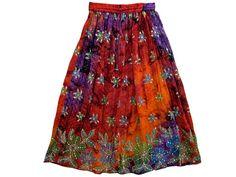 Designer Womens Bohemian Gypsy Skirt Chic Tie Dye Sequin Skirt in Orange Purple   eBay