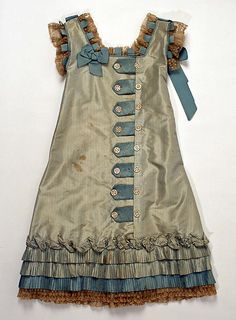 Dress  Date: late 1870s Culture: American (probably)  I think I could make a version of this for Cosey. 4th b-day maybe?