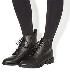 Office Incline Lace Up Ankle Boots Black Leather - Ankle Boots Black Leather Shorts, Black Lace Up Boots, Short Black Boots, Black Leather Ankle Boots, Leather Booties, Leather And Lace, Low Heel Ankle Boots, Black Ankle Booties, Lace Up Booties
