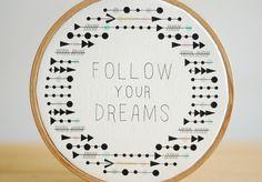 Quote Embroidery Hoop Follow Your Dreams Tribal por inesrocio