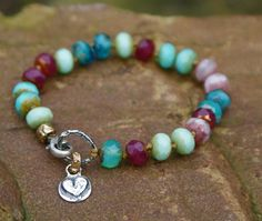 Jewel boho knotted bracelet  Heart charm mixed by Mollymoojewels