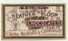 Label Chocolate Sweets 1900 wrapper Nickolls & Coombs London Heather Bloom #Label #Chocolate #Sweets 1900 #wrapper #Nickolls & #Coombs #London #Heather #Bloom  #advertising #ephemera #vintage  #sweets