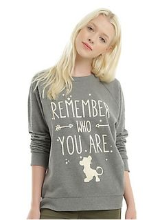 "Remember who you are.This poignant phrase aren't just words Simba should hear. They're important for everyone to remember. Heather grey pullover sweatshirt from Disney's The Lion King with a memorable quote from Mufasa printed on front. </div><div><ul><li style=""LIST-STYLE-POSITION: outside !important; LIST-STYLE-TYPE: disc !important"">60% cotton; 40% polyester</li><li style=""LIST-STYLE-POSITION: outside !important; LIST-STYLE-TYPE: disc !importa"