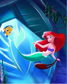 Disney, Little Mermaid, Ariel, Flounder
