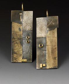 Earrings   Roger Rimel.  Sterling silver, 14 k. gold, 18 k. gold, fused gold on silver, black diamonds
