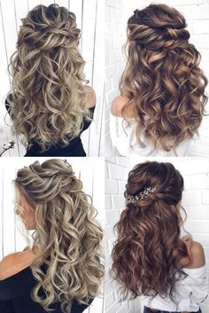 braided hairstyles for black women Long half up half down wedding hairstyles and wedding updos from mpobedinskaya Wedding Hair Down, Wedding Hairstyles For Long Hair, Wedding Hair And Makeup, Boho Wedding, Wedding Night, Wedding Hairstyles Half Up Half Down, Wedding Hairstyles For Curly Hair, Curly Bridal Hair, Bridal Hair Down