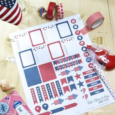 July 4th Patriotic Planner Stickers - Free printable download. For personal use only.