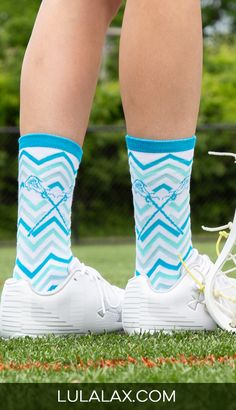 Put a little prep in your step with our bright blue and white chevron lacrosse socks! The mid-calf fit is just thr right style, and looks great with your favorite sneakers, slides, cleats and more! These socks make a great gift anytime of year for birthdays, holidays, stocking stuffers or just because! Also, a fun team gift idea!