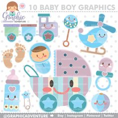 Baby Clipart, Baby Graphics, COMMERCIAL USE, Kawaii Clipart, Planner Accessories, Baby Boy Party, Baby Shower Graphic, Pastel Graphic, Cute