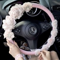 Fashion Luxury Pink Leather Flower Pearl and Crystal Steering Wheels Cover for Women