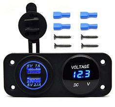 Cllena DC 12V - 24V LED Digital USB Voltmeter + Dual USB Power Socket Panel 2.1A/1A USB Charger For Car Boat Marine Rv ATV Carvans Motorcycle Vehicle Mobile Phone (Blue LED)