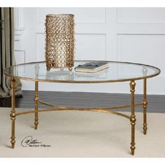 40 Golden Forged Iron Oval Glass Coffee Table, Gold