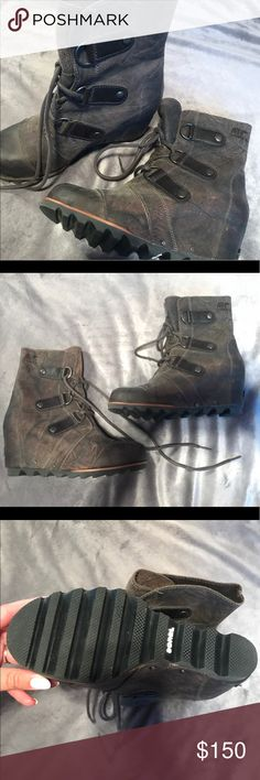 Sorel wedge boots NEVER WORN! Sorel wedge boots, THIS COLOR IS SOLD OUT EVERYWHERE! Sorel Shoes Ankle Boots & Booties