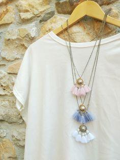 Multi tassel necklace, boho tassel pendant, chunky fringe necklace with a Kuchi pendant, long necklace, round charm tassel pendant, gypsy by OddFibulae on Etsy