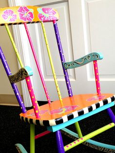 Funky Children's Rocking Chair - hand painted. Email alicia@championdriving.com if interested in purchasing.