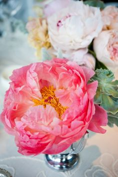 Did they mix succulents and peonies!?  Oh, YES they did!  Photography by lisafarrerweddings.com