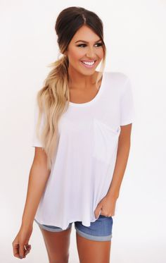 Short Sleeve Pocket Top- White - Dottie Couture Boutique