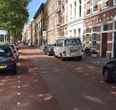 This woonerf in The Hague, NL has a smooth, narrow centre lane that attracts 1000 cars and 2000 bikes per day. Click image to tweet and visit the slowottawa.ca boards >> http://www.pinterest.com/slowottawa