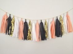 Peach, Gold, White and Black Tassel Garland Banner - Mothers Day, Spring Decor, Party Decor, Birthday, Weddings, Baby Shower, & Photo Prop
