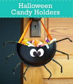 Craft one of these simple Halloween candy holders from materials you have in your house. They're scary easy to make and super cute.