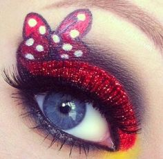 Cute bow design for a princess eye. Sexy Minnie Mouse make up