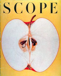 U.S. Scope magazine cover, 1955 // Will Burtin | (A very sad apple)