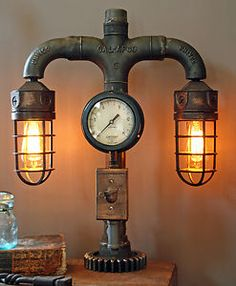 Steampunk Shade Steam Gauge Gear Lamp Light Industrial Art Machine Age Salvage | eBay
