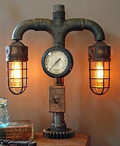 Steampunk Shade Steam Gauge Gear Lamp Light Industrial Art Machine Age Salvage.