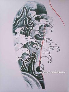 大臂水浪石头纹身手稿