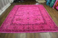 #8x10 #hotpink #overdyed #rug. Accents are lavendar & espresso rug. One of a kind. Perfect condition. Fresh inventory from West of Hudson.