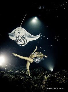 優雅な水中ファンタジー、マンタと女性ダンサーが水中で踊りの競演 : カラパイア