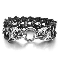 Men's Stainless Steel Genuine Leather Bracelet Link Silver Black Wolf Braided Gothic Biker INBLUE http://www.amazon.com/dp/B00KW683YW/ref=cm_sw_r_pi_dp_DXdQvb05WYPCS